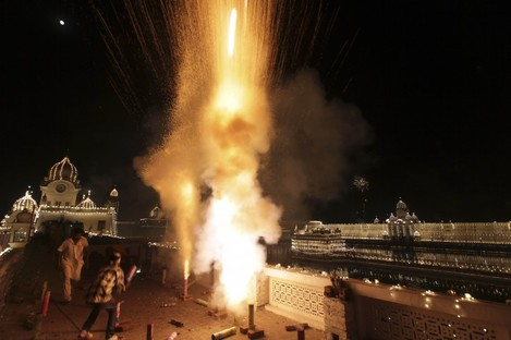 Fireworks at a Sikh festival in Amritsar, India