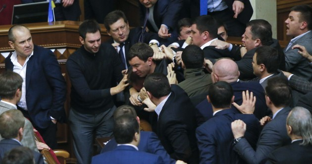 WATCH: Massive hair-pulling, face-gouging brawl erupts in Ukrainian parliament
