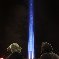 Dublin's Spire was lit up like a lightsaber for Star Wars last night
