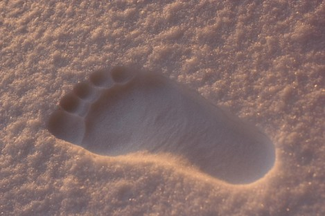 File photo of a footprint in snow