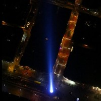 The Garda helicopter got an amazing view of the Millennium (Falcon) lightSpire last night...