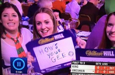 These Mayo girls were spotted holding up the most Irish sign at the darts