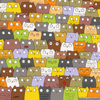 Can you find the cat hiding amongst these owls?