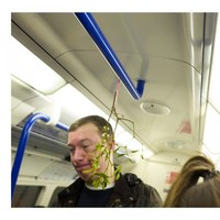 Someone put up mistletoe in a London Tube car and no one was having it