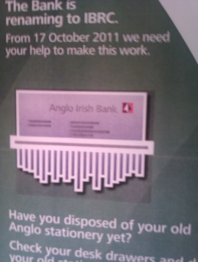 Anglo Irish Bank... in the shredder
