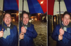 A Kilkenny chef and his umbrella delivered the best live reports from Storm Frank last night