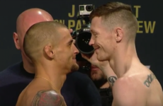 Poirier and Duffy exchange views as they weigh in for UFC 195