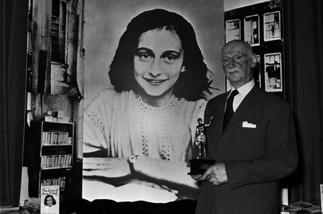 Dr Otto Frank, the family's only survivor, receives an award in 1971.