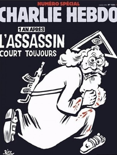 Charlie Hebdo anniversary cover features God with a gun