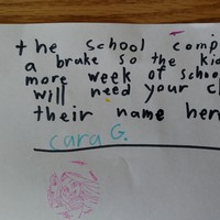 This little girl tried to get another week off school with an adorable fake note