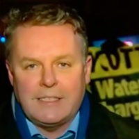 Live RTÉ report about flooding interrupted by water protesters
