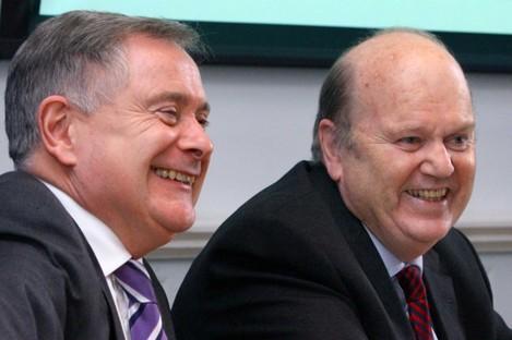 Brendan Howlin and Michael Noonan earlier today
