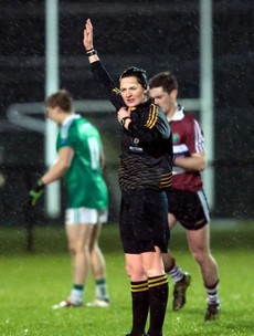 Cavan's Maggie Farrelly became the first woman to referee a senior men's county game tonight