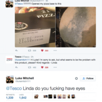 A mouldy pizza base from Tesco made for one hilariously clueless Twitter exchange
