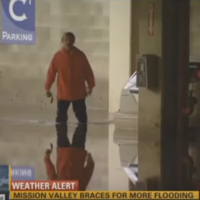 This man was caught on camera at the exact moment he found his car in a flooded car park
