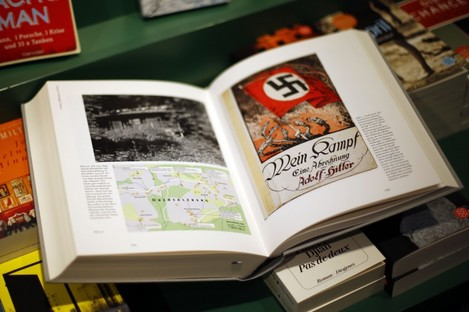 A copy of Mein Kampf: A Critical Edition lies on a display table in a bookshop in Munich.