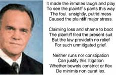 Judge throws out prisoner's $2 million toilet lawsuit – with a poem