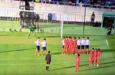 Here's your improbable free-kick routine of the day