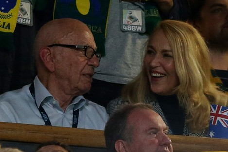 Murdoch and Hall in the stands during the Rugby World Cup Final.