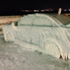 This car was turned into a giant ice sculpture after its owner parked it by a freezing lake