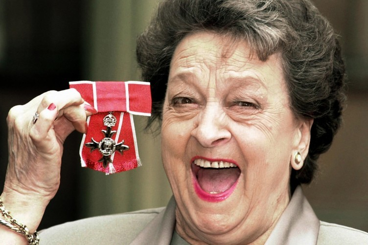 Actress Betty Driver - famed for her role in Coronation Street, and her character's famous Hot Pot - picks up her OBE in 1999.