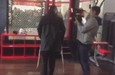 Dominick Cruz is on crutches just two days before his UFC title fight*