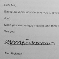 Alan Rickman's letter of advice to his 16-year-old self is excellent