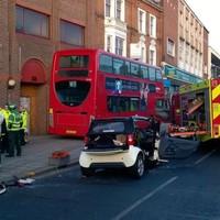 Nine injured in crash between car and double decker bus