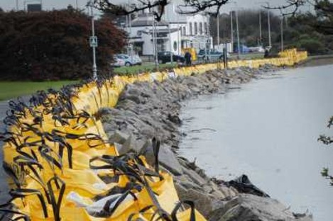 Temporary flood defence measures at Clontarf sea-front in 2010.