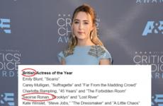Saoirse Ronan just won the award they had to rename because she's Irish