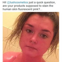 This girl was turned bright pink after a Lush product went spectacularly wrong
