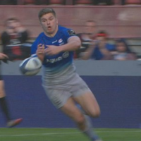 Epic fail! Owen Farrell goes to celebrate a try but fumbles the ball before dotting down