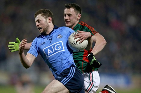 Dublin's Jack McCaffrey and Mayo's Diarmuid O'Connor will be in opposition next Saturday night.