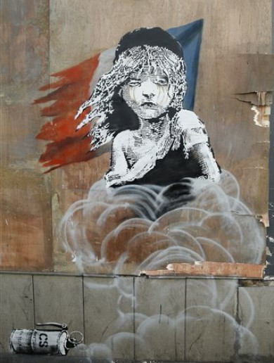 Banksy's new work hits out at use of teargas in 'Jungle' refugee camp