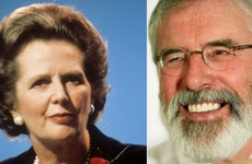 Gerry Adams paid Margaret Thatcher a rare compliment today