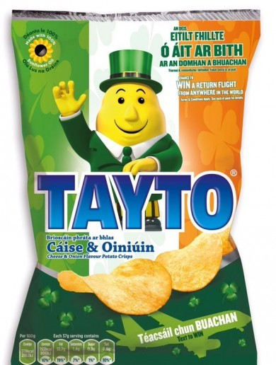 Every Irish person abroad is going to want this bag of Tayto as Gaeilge