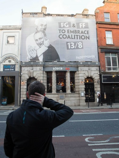 A betting company just unfurled this gay marriage-inspired election banner on George's Street