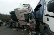 M1 lane blocked after crash between two heavy-goods lorries