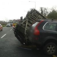 Overturned vehicle blocking traffic on the M50