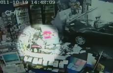 Baby has a lucky escape after car crashes into shop