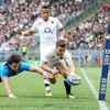 Jonathan Joseph bagged a hat-trick for England in Rome