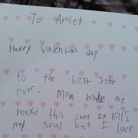 A little boy made a painfully honest Valentine's Day card for his sister