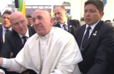 The Pope was not impressed that someone nearly pulled him down