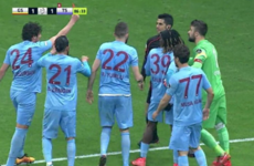 Chaos in Turkey as Trabzonspor finish game with 7 men after player shows ref red card