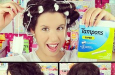 Women are curling their hair using tampons and maxi pads