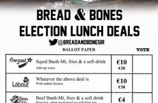 This Dublin restaurant's election menu doesn't seem to like our politicians much