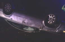 Driver flees scene after rolling car onto its roof