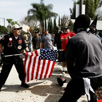 'All hell breaks loose' as protesters clash with Ku Klux Klan at rally