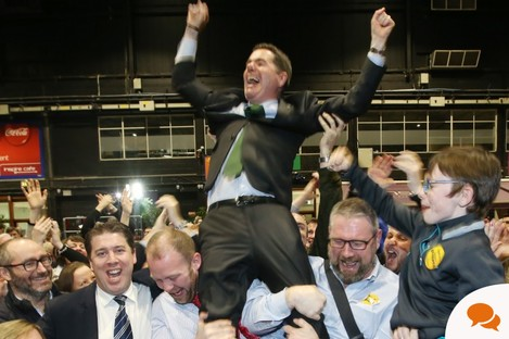 Scenes from the RDS count centre Paschal Donohoe TD, Fine Gael Dublin Central celebrating with his supporters at the RDS .
