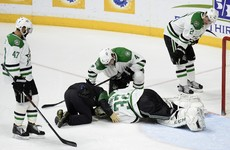 Hockey goalkeeper takes shot to the groin from the NHL's hardest hitter... may never get up